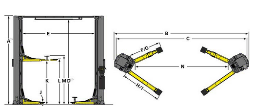 XPR-10AXLS Two Post Lift Drawing
