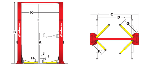 Challenger Lifts 15000 2 post lift tech drawing