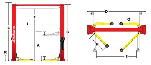 Challenger Lifts CL10V3-QC Tech Drawing