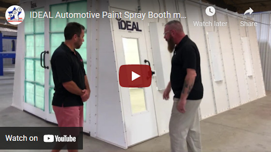 iDEAL Automotive Paint Spray Booth model PSB-AFCF23B-1PH from ASEdeals.com. Car spray booth.