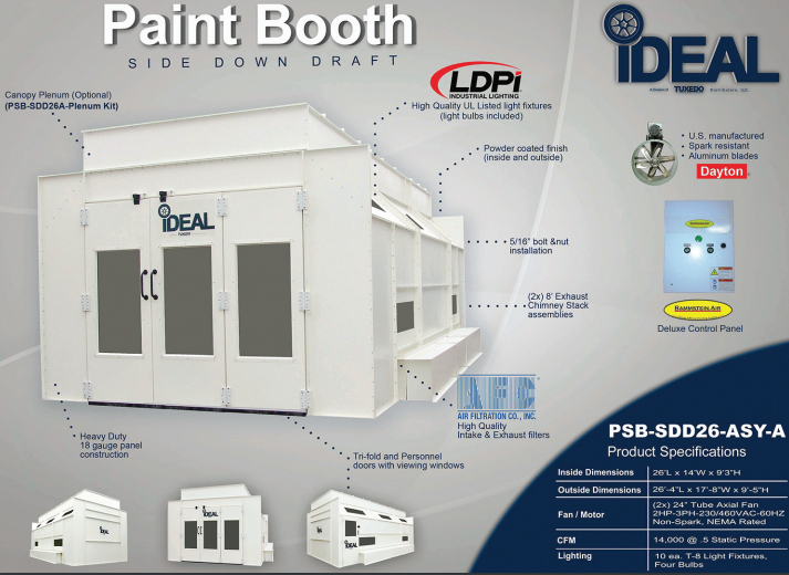 iDeal Paint Booth PSBSDD26ASY