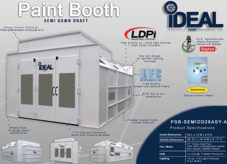 iDeal Paint Spray Booth PSBSEMIDD26