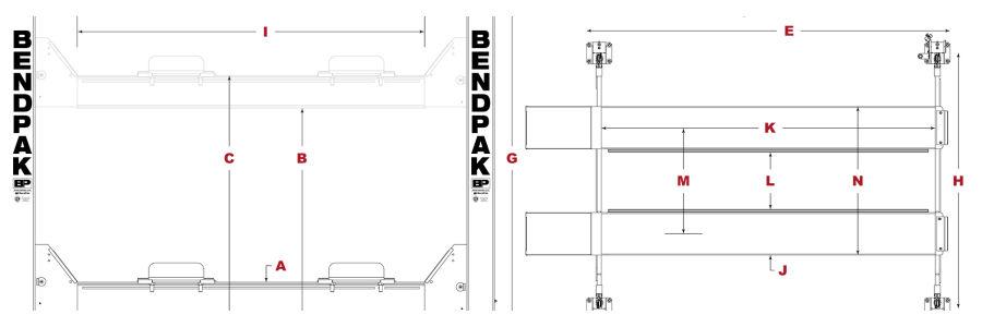 BendPak HDS-18E Four Post Lift Dimensions