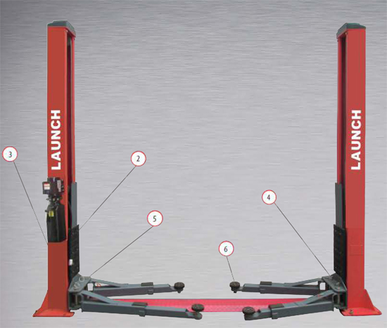 Launch TLT240SB Two Post Lift Features Chart