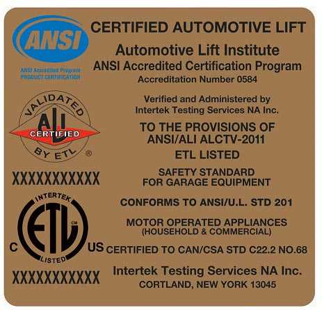 ALI Certified Automotive Lift